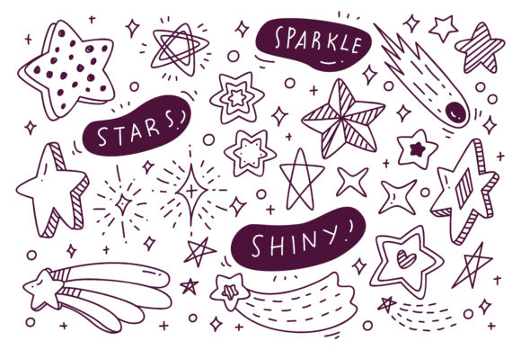Set of Hand Drawn Star Doodles Graphic Illustrations By Big Barn Doodles