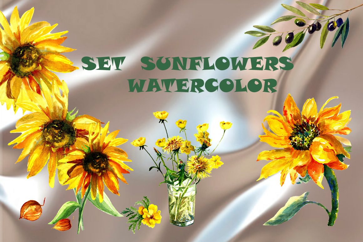 Download Free Set Sunflowers Graphic By Kakva Creative Fabrica for Cricut Explore, Silhouette and other cutting machines.