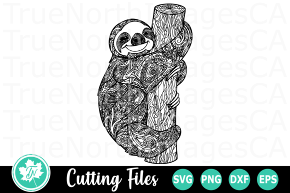 Download Free Sloth A Zentangle Graphic By Truenorthimagesca Creative Fabrica for Cricut Explore, Silhouette and other cutting machines.