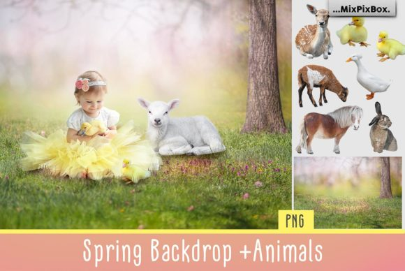 Print on Demand: Spring Backdrop + Animals Graphic Layer Styles By MixPixBox