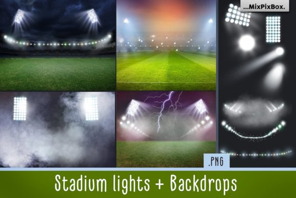 Print on Demand: Stadium Lights Overlays + Backdrops Gráfico Estilos de capas Por MixPixBox