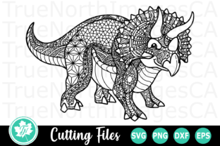 Download Free Triceratops A Zentangle Graphic By Truenorthimagesca for Cricut Explore, Silhouette and other cutting machines.