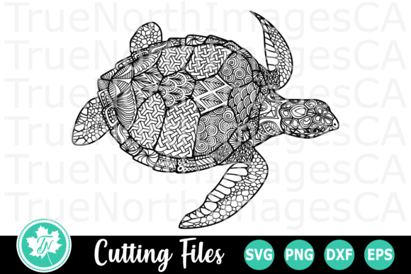 Download Free Turtle A Zentangle Graphic By Truenorthimagesca Creative Fabrica for Cricut Explore, Silhouette and other cutting machines.