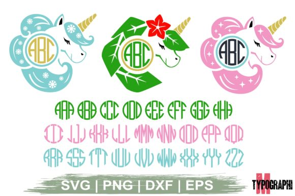 Download Free Unicorn Monogram Round Monogram Letter Graphic By Typography for Cricut Explore, Silhouette and other cutting machines.
