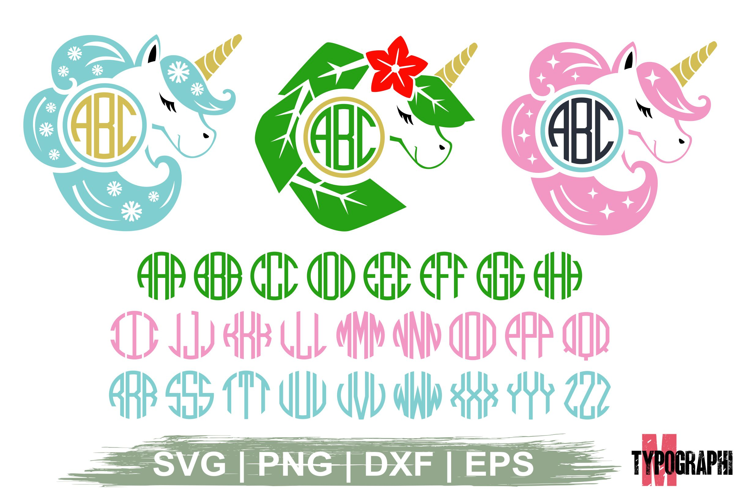 Unicorn Monogram Round Monogram Letter Graphic By Typography
