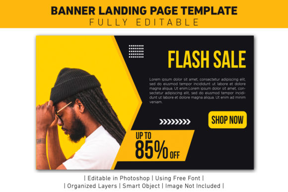 Banner Flash Sale Yellow and Black Graphic Web Templates By ant project template