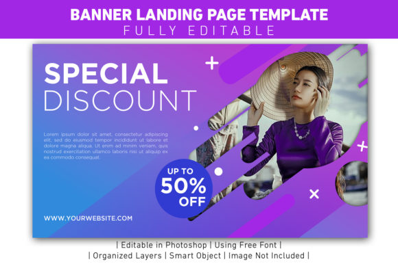 Banner Special Discount Violet Template Graphic Web Templates By ant project template