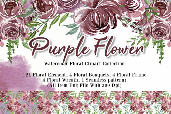 Print on Demand: Flower Purple Watercolor Illustration Graphic Illustrations By OrchidArt