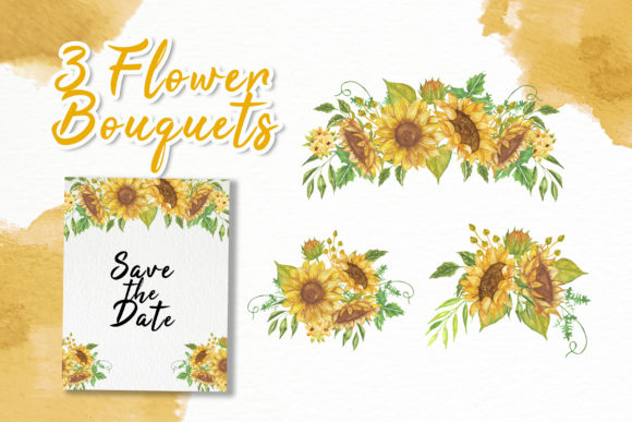 Print on Demand: Sunflower Beauty Watercolor Illustration Graphic Illustrations By OrchidArt - Image 2