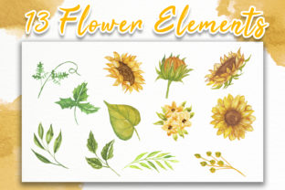 Print on Demand: Sunflower Beauty Watercolor Illustration Graphic Illustrations By OrchidArt 6