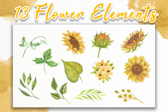 Print on Demand: Sunflower Beauty Watercolor Illustration Graphic Illustrations By OrchidArt - Image 6