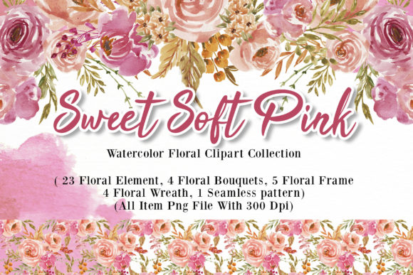 Print on Demand: Sweet Soft Pink Flower Watercolor Graphic Illustrations By OrchidArt