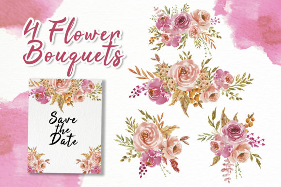 Print on Demand: Sweet Soft Pink Flower Watercolor Graphic Illustrations By OrchidArt - Image 2