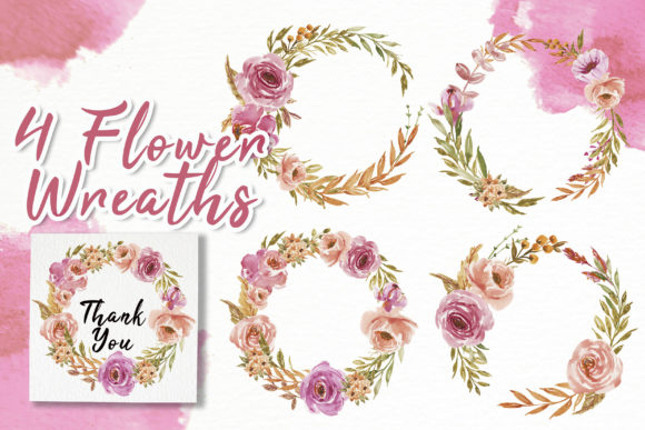 Print on Demand: Sweet Soft Pink Flower Watercolor Graphic Illustrations By OrchidArt - Image 4