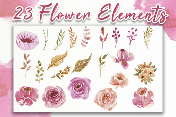 Print on Demand: Sweet Soft Pink Flower Watercolor Graphic Illustrations By OrchidArt - Image 6