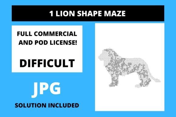 Print on Demand: 1 Lion Shaped Maze with Solution Graphic Teaching Materials By Fleur de Tango