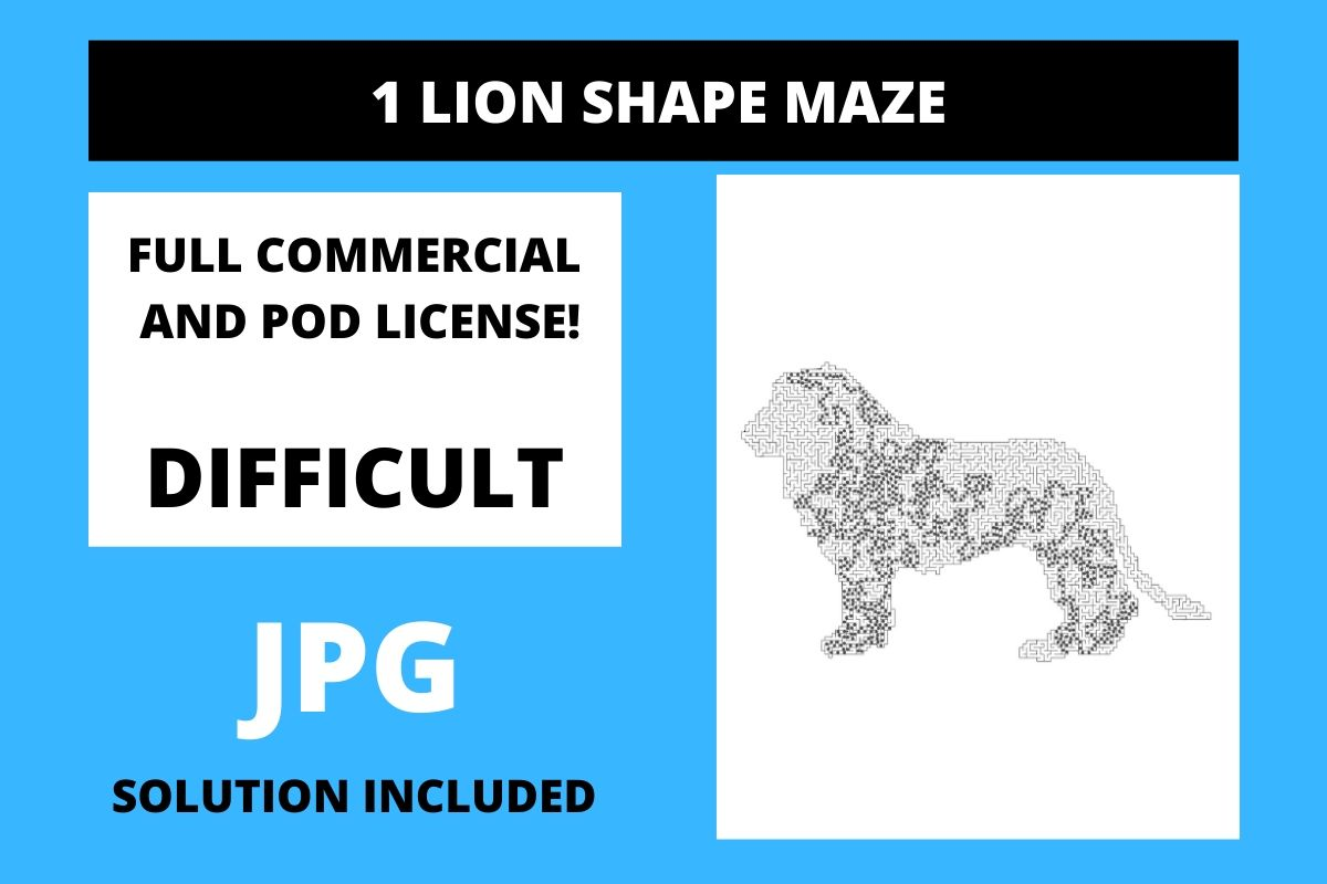 Download Free 1 Lion Shaped Maze With Solution Graphic By Fleur De Tango for Cricut Explore, Silhouette and other cutting machines.