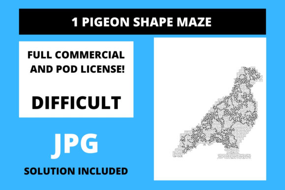 Print on Demand: 1 Pigeon Shaped Maze with Solution Graphic 12th grade By Fleur de Tango