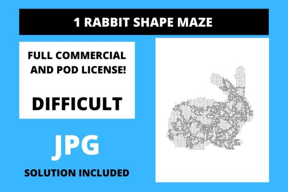 Print on Demand: 1  Rabbit Shaped Maze with Solution Graphic 12th grade By Fleur de Tango