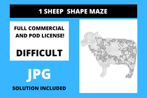 Print on Demand: 1 Sheep Shaped Maze with Solution Graphic 11th grade By Fleur de Tango