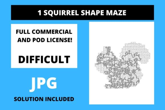 Print on Demand: 1 Squirrel Shaped Maze with Solution Graphic 12th grade By Fleur de Tango