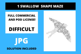 Print on Demand: 1 Swallow Shaped Maze with Solution Graphic 12th grade By Fleur de Tango