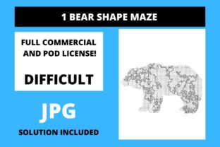 Print on Demand: 1 Bear Shaped Maze with Solution Graphic 12th grade By Fleur de Tango