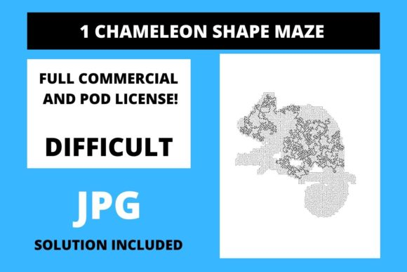 Print on Demand: 1 Chameleon Shaped Maze with Solution Graphic 11th grade By Fleur de Tango