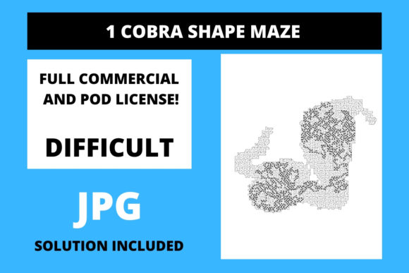 Print on Demand: 1 Cobra Shaped Maze with Solution Graphic 12th grade By Fleur de Tango