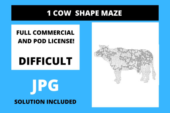 Print on Demand: 1 Cow Shaped Maze with Solution Graphic 12th grade By Fleur de Tango