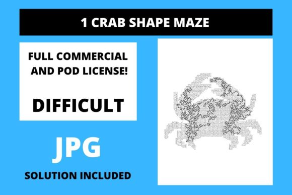 Print on Demand: 1 Crab Shaped Maze with Solution Graphic Teaching Materials By Fleur de Tango