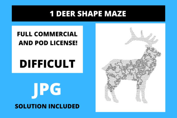 Print on Demand: 1 Deer Shaped Maze with Solution Graphic 12th grade By Fleur de Tango