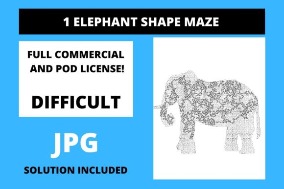 Print on Demand: 1 Elephant Shaped Maze with Solution Graphic Teaching Materials By Fleur de Tango