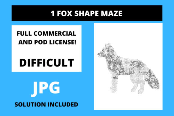 Print on Demand: 1 Fox Shaped Maze with Solution Graphic 12th grade By Fleur de Tango
