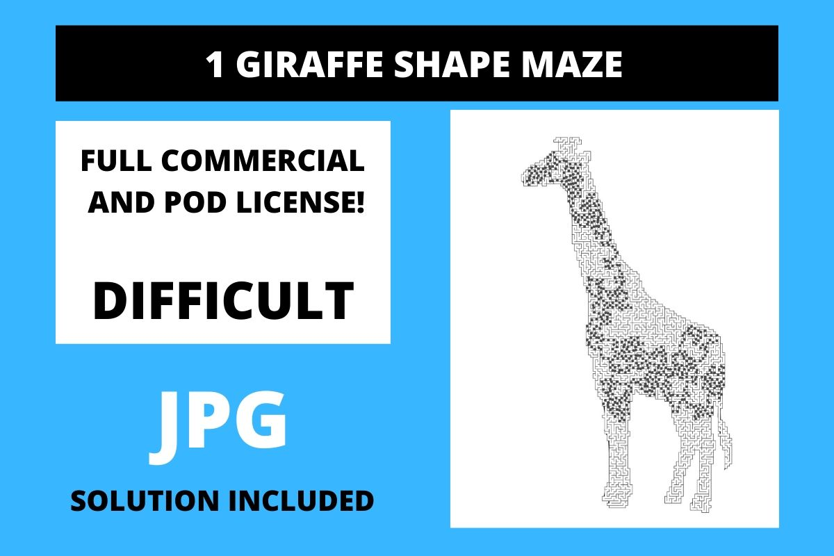 1 Giraffe Shaped Maze With Solution Graphic By Fleur De Tango