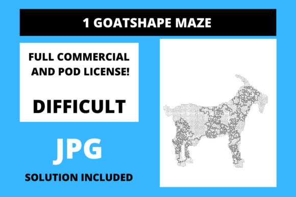 Print on Demand: 1 Goat Shaped Maze with Solution Graphic 11th grade By Fleur de Tango