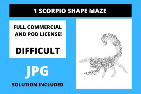 Print on Demand: 1 Scorpio Shaped Maze with Solution Graphic Teaching Materials By Fleur de Tango