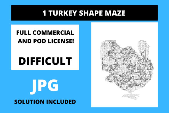 Print on Demand: 1 Turkey Shaped Maze with Solution Graphic 12th grade By Fleur de Tango