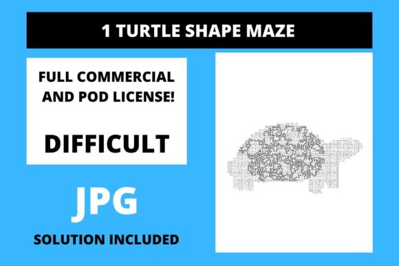 Print on Demand: 1 Turtle Shaped Maze with Solution Graphic Teaching Materials By Fleur de Tango