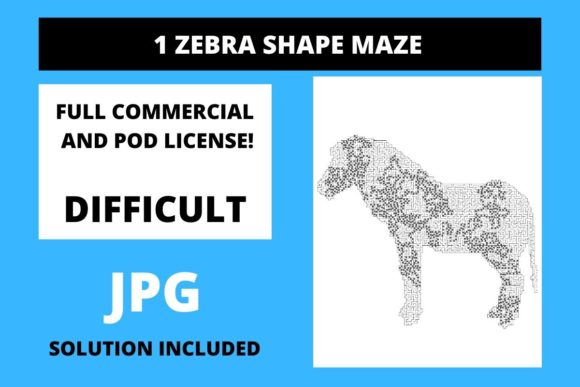 Print on Demand: 1 Zebra Shaped Maze with Solution Graphic Teaching Materials By Fleur de Tango