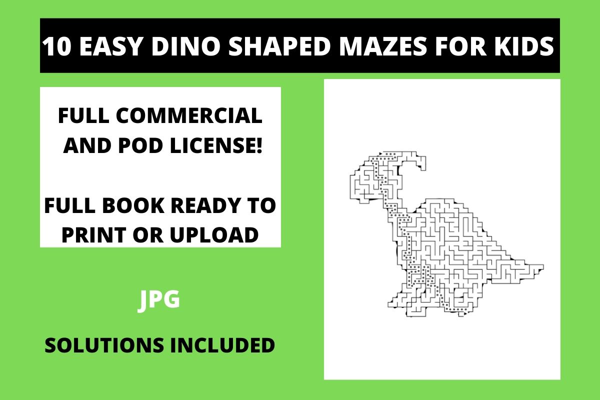 Download Free 10 Easy Dinosaur Shaped Mazes For Kids Graphic By Fleur De Tango for Cricut Explore, Silhouette and other cutting machines.