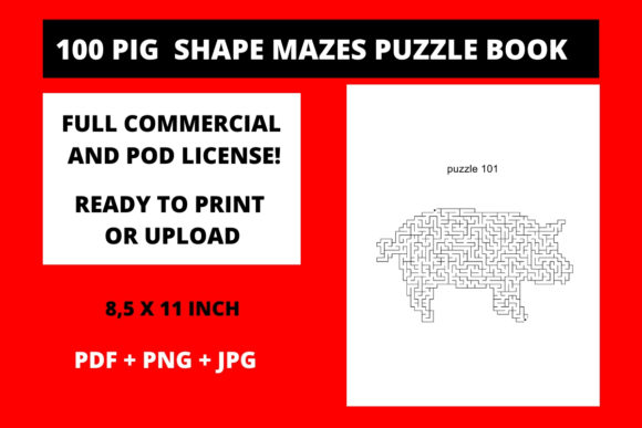 Print on Demand: 100 Pig Shaped Mazes for Kids Pig Graphic KDP Interiors By Fleur de Tango