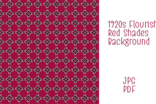 Print on Demand: 1920s Red Flourish Digital Paper Graphic Patterns By Kathryn Maloney