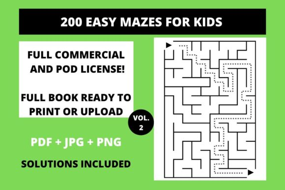 Print on Demand: 200 Easy Mazes for Kids Vol.1 Graphic KDP Interiors By Fleur de Tango