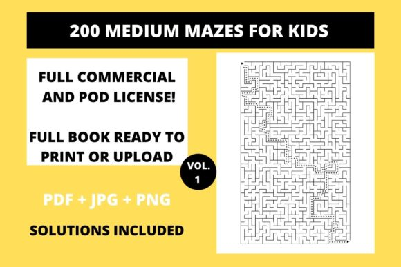 Print on Demand: 200 Medium Mazes for Kids Vol.1 Graphic KDP Interiors By Fleur de Tango