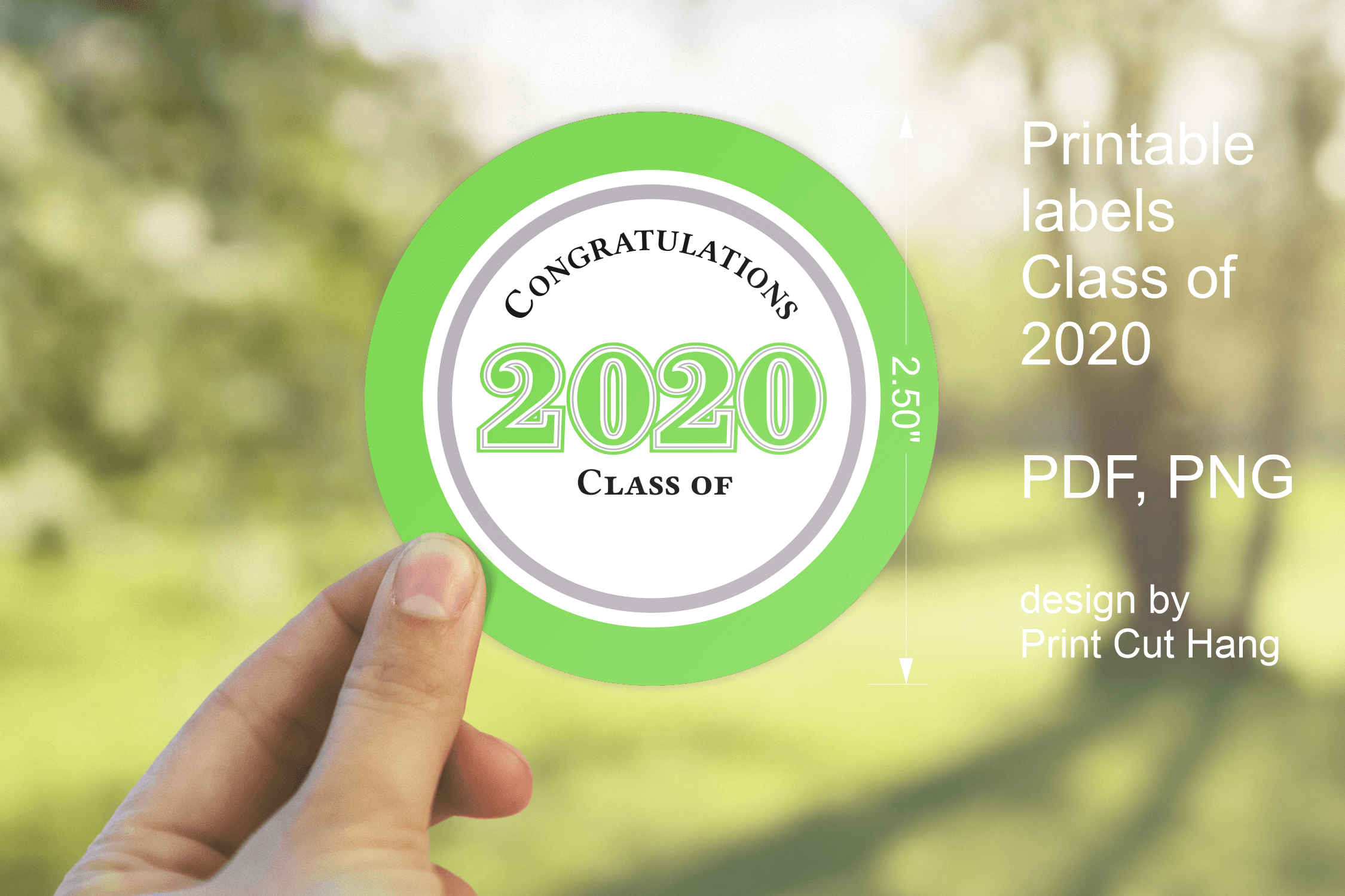 Download Free 2020 Graduation Green Round Labels Graphic By Print Cut Hang for Cricut Explore, Silhouette and other cutting machines.