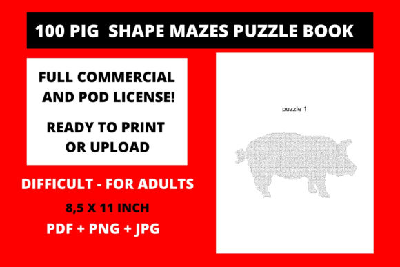 Print on Demand: 30 Pig Shaped Mazes with Solutions Graphic 1st grade By Fleur de Tango