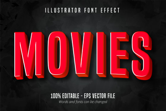 Download Free 3d Red Movie Style Editable Font Effect Graphic By Mustafa for Cricut Explore, Silhouette and other cutting machines.