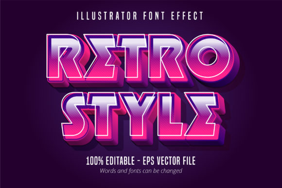 Print on Demand: 3D Strong Bold Retro Style  Text Effect Graphic Graphic Templates By Mustafa Bekşen