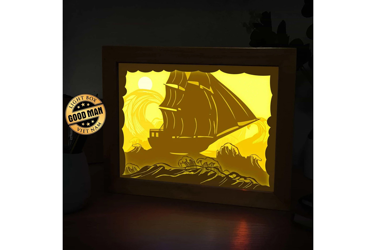 Download Free Across The Sea 3d Paper Cutting Lightbox Graphic By Lightboxgoodman Creative Fabrica for Cricut Explore, Silhouette and other cutting machines.